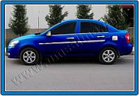 Накладки на ручки Hyundai Accent, Era SD (2005-2011) 4-дверн.(с 2-мя отверс.) нерж. Omsa