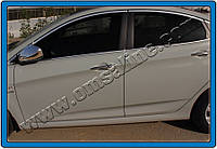 Накладки на ручки Hyundai Accent Blue, Solaris SD (2011-) 4-дверн.(с отверст.под сенсор) нерж. Omsa
