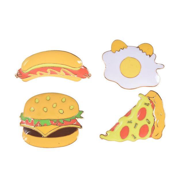 Значки Pin Up Бургер, Пицца, Хотдог, Яичница
