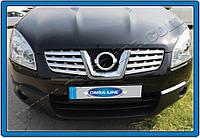 Накладки на решетку радиатора Nissan Qashqai (2007-2010) (нерж.) 8 шт