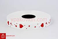 Лента для подарков и цветов 2/100 - сердечки крупные и мелкие