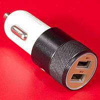 Мощное автомобильное зарядное устройство Yopin CC-019 USBx2 порты (2.1A/1A) черное для смартфона навигатора