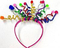 Карнавальный Ободок Цветные Шарики с Пружинками Прикол для Вечеринки Маскарад