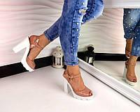 Новинка! Женские лаковые босоножки бежевого цвета на каблуке, 38 40р