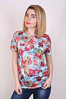 Футболка женская Листики 03, женская футболка с цветами