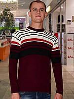 Мужской свитер (пуловер)      (Бордовый)
