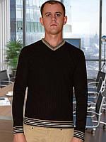 Мужской свитер (пуловер)     (Темно коричневый)