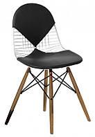 Стул Майя Вуд, сиденье и спинка кожзам черный, 48*49*85, высота сиденья 42см