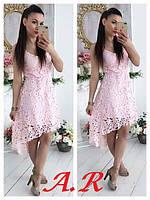 Кружевное платье  люкс качества! дорогое набивное кружево,  пышная юбка. размер уни с-м. С-М, Розовый