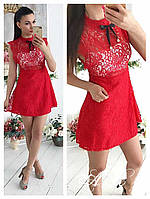 Платье (Фабричный Китай) № 953 ткань дорогое кружево в комплекте трикотажный топ размер универсальный 42/44