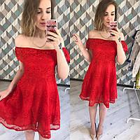 Платье (Фабричный Китай) № 952 ткань дорогое кружево на плечах резинка размер универсальный 42/44