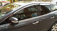 Дефлекторы окон (ветровики) Mazda CX-7 2006- Хром молдинг AVTM