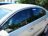 Дефлекторы окон (ветровики) VW Passat B6, B7 2006-2014 Sedan Хром молдинг AVTM