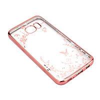 Чехол TPU Electro Flower Samsung J500H Galaxy J5 (Золотой / Розовые цветы)