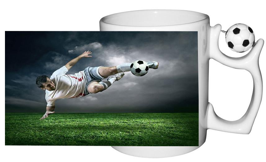 Чашка с Вашим дизайном керамическая с футбольным мячом