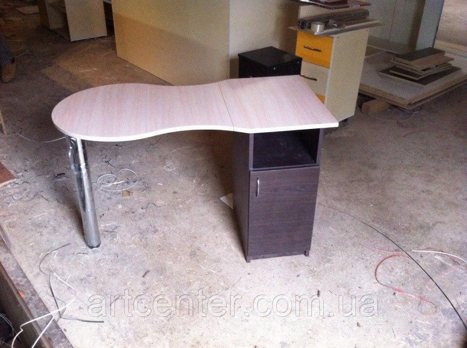 Маникюрный стол  стандарт со складной столешницей, однотумбовый