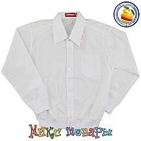 Белые рубашки Феррари с манжетам Длинный рукав Размеры:116-128-140-152 см (5427)