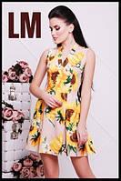 Женское летнее платье Сати персиковое с подсолнухами. Размеры 42, 44, 46, 48, 50