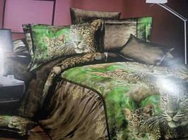 Півтораспальний постільний комплект Софія 3D Леопарди на відпочинку