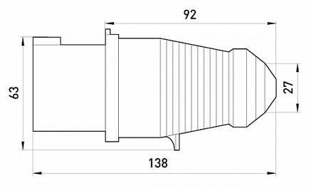 Силовая вилка переносная e.plug.pro.3.32, 3п., 220В, 32А (023), фото 2