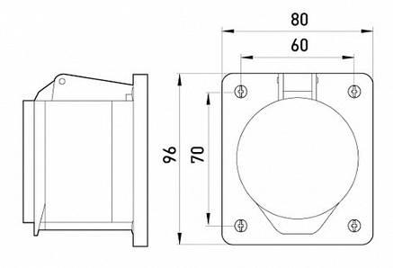 Силова розетка вбудована e.socket.pro.5.32.wall, 5п., 380В (425), фото 2