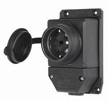 Розетка одинарная с защитной крышкой каучуковая e.socket.rubber.029.1.16, с з/к, 16А