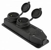 Розетка двойная с защитной крышкой каучуковая e.socket.rubber.029.2.16, с з/к, 16А