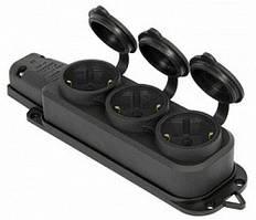 Розетка тройная с защитной крышкой каучуковая e.socket.rubber.029.3.16, с з/к, 16А