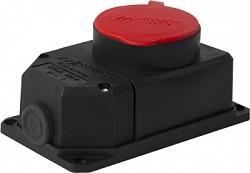 Силовая розетка стационарная с защитной крышкой каучуковая e.socket.rubber.062.16, 4п., 16А