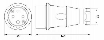 Силова вилка переносна каучукова e.plug.rubber.070.32, 4п., 32А, фото 2