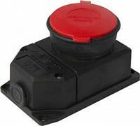 Силовая розетка стационарная с защитной крышкой каучуковая e.socket.rubber.315.25, 4п., 25А, фото 1