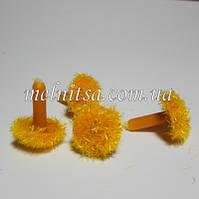 Серединка для цветка, бархатная, 12 мм, цвет желтый