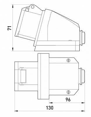 Силовая розетка стационарная e.socket.pro.5.16, 5п., 380В, 16А (115), фото 2