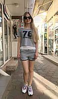 Женский летний костюм с шортами и маечкой Colors of California светло-серый