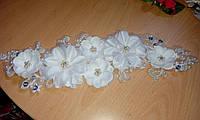 """Веточка в волосы с цветами и кружевом """"Свадебная"""""""