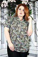 Рубашка женская большого размера крупные огурцы 021, женская одежда для полных