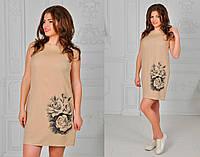 Стильное платье из льна в расцветках, принт-розы.