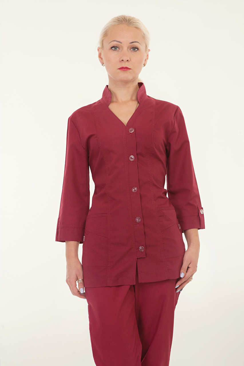 Медицинский костюм женский бордо