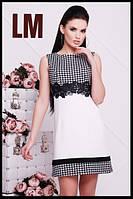 Размер 42,44,46,48,50 Женское летнее платье Лидия белое с кружевом черное деловое нарядное батал короткое