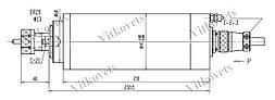 Шпиндель для ЧПУ 2.2 kw, ER20, 80мм водяное охлаждение, фото 3