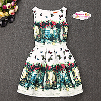 """Летнее платье """"Бабочки в уютном дворике""""."""
