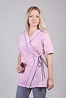 Медицинский женский костюм комбинированый на запах