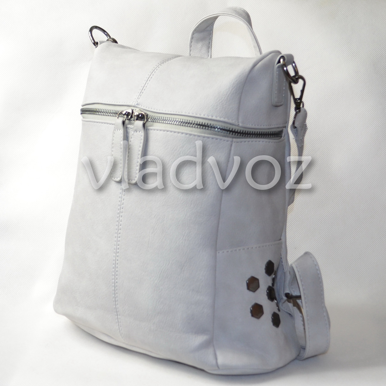 Городской женский молодежный модный стильный рюкзак сумка серый