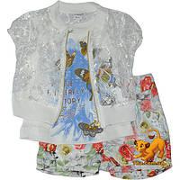 """Оригинальный летний костюм-тройка """"Summer & Butterfly"""" , для девочек (1-2-3 лет) 3 ед. в уп."""