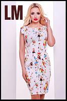 Размер 42,44,46,50 Женское летнее платье-футляр белое Замира батал с принтом стильное деловое на работу в офис