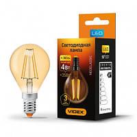 LED лампа VIDEX  G45FA 4W E14 2200K 220V бронза, фото 1