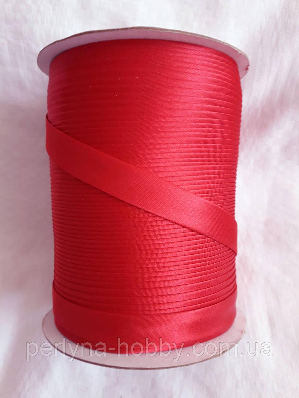 Лямівка атласна 15 мм, косая бейка, червоний темний, винний, № 83
