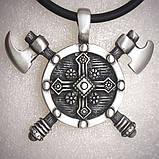 Кулон серебряный Две Секиры и Щит Викинга ПС-30 Б, фото 4