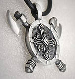 Кулон серебряный Две Секиры и Щит Викинга ПС-30 Б, фото 5