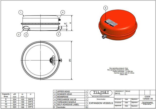 Расширительный бак ZILMET OEM–Pro 541/L 12 литров размеры